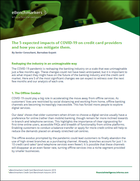 The 5 expected impacts of COVID-19 on credit card providers and how you can mitigate them.