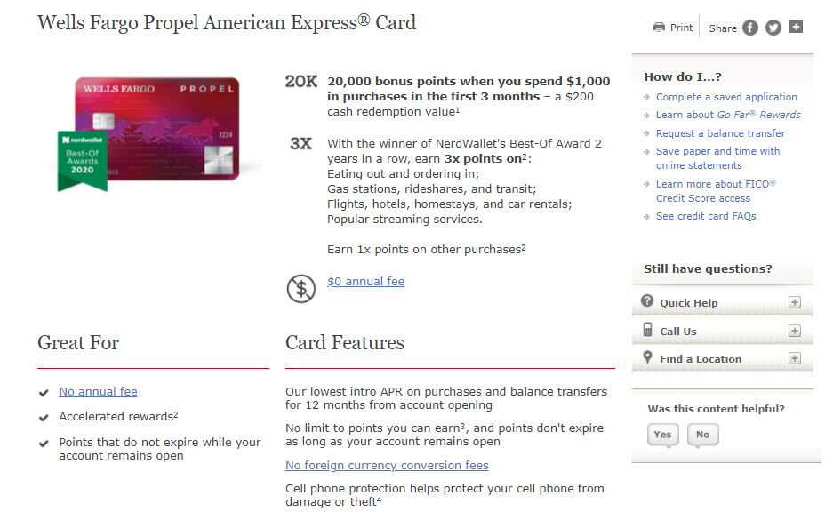 Wells Fargo Propel Card